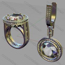 3d модель кольца и серьги